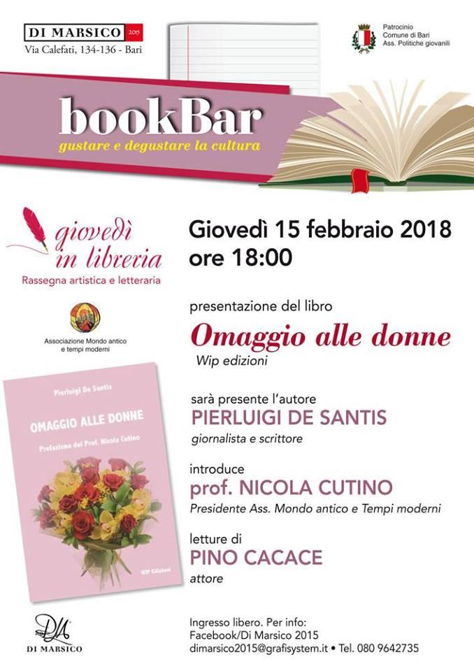 """Il 15 febbraio partecipa alla presentazione di """"Omaggio alle donne"""", WIP Edizioni, di Pierluigi De Santis, in libreria Di Marsico a Bari"""